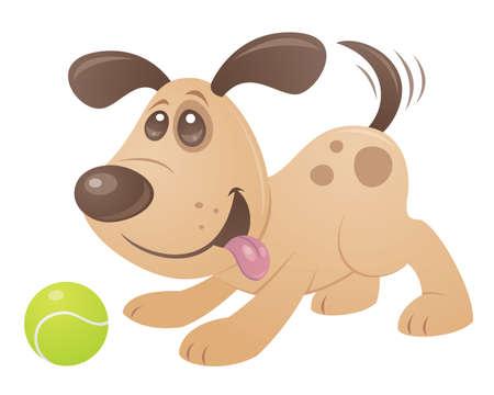 Vector cartoon stijl tekening van een speelse puppy spelen met een tennisbal.