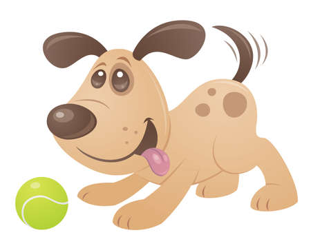 Vector cartoon style drawing of a playful puppy playing with a tennis ball.