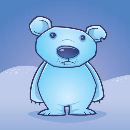 Cute polar bear cub standing in a snow covered landscape drawn in a humorous cartoon style.