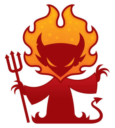 Cartoon vector drawing of a devil with flames around his head holding a pitchfork.