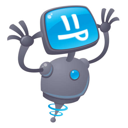 Vector cartoon illustration of a silly robot with a computer screen face sticking out his tongue giving a raspberry.