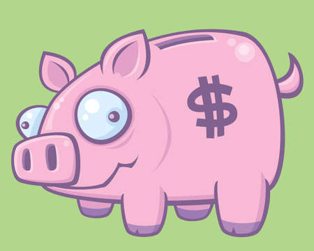 Cartoon vector illustration of a silly piggy bank. Vector