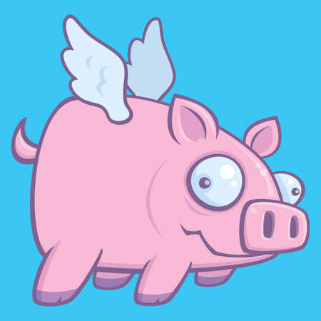 oink: Cartoon vector drawing of a flying pig illustrating the phrase when pigs fly. Illustration