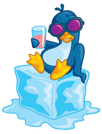 Cute vector penguin wearing sunglasses relaxing on a block of ice enjoying a beverage. Drawn in a humorous cartoon style. Фото со стока - 4743868
