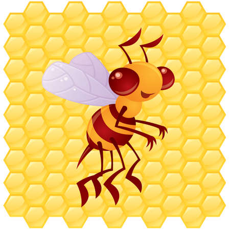 Cute vector honey bee in front of a honeycomb background drawn in a humorous cartoon style.