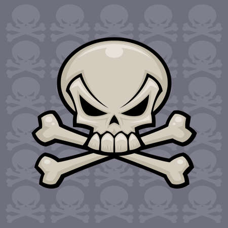 Skull and crossbones vector illustration. Might look nice on a pirate flag or a bottle of poison.