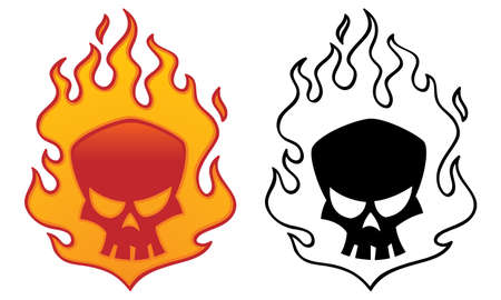 Flaming skull vector illustration. Cool tattoo or logo design.