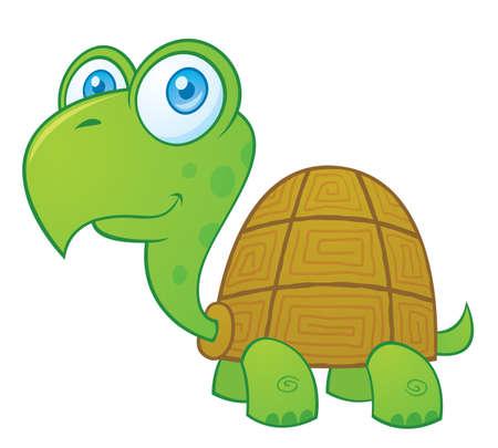 Vector cartoon illustration of a cute little turtle.