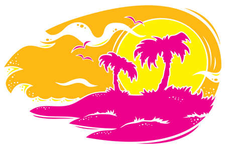 Vector drawing of a tropical sunset with palm trees. Only three colors used. Illustration