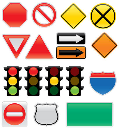 A collection of vector traffic signs and map symbols. Stop, yield, traffic lights, interstate and highway signs, one way, detour, construction sign, railroad, do not enter. Vector