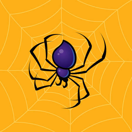 Vector drawing of a spider with a web background. Иллюстрация
