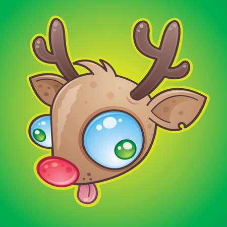 Wacky Rudolph The Red Nosed Reindeer face with bulging eyes sticking out his tongue. drawn in a humorous cartoon style. Stock Illustratie