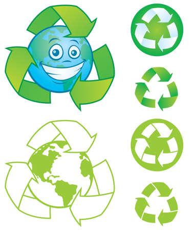 going green: Vector cartoon planet Earth with recycle symbol and several vector recycle symbols and icons. Great mascot or logo for going green or recycling. Illustration