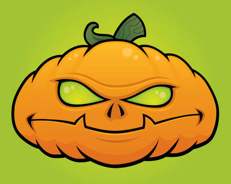 Spooky vector Halloween pumpkin head monster drawn in a humorous cartoon style.