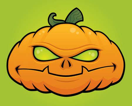 Spooky vector Halloween pumpkin head monster drawn in a humorous cartoon style.