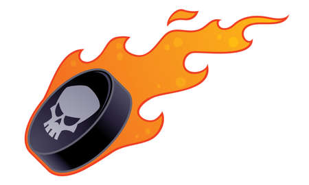 Vector drawing of a flaming hockey puck with skull design.