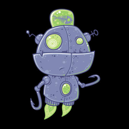 Silly vector robot drawn in a humorous cartoon style. This robot was designed for fishing and is powered by rotting fish.