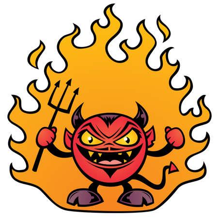 Vector illustration of a fat little devil character.
