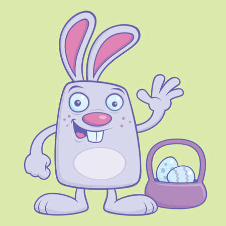 Silly Easter Bunny with egg basket vector illustration.
