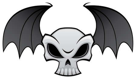 hostile:  Vector illustration of an angry skull with bat wings. Great for Halloween decorations.