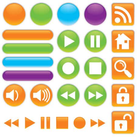 ゲル、光沢のあるベクトル アイコンを設定オーディオまたはビデオ。  イラスト・ベクター素材