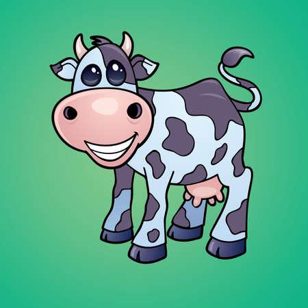 벡터 유머 만화 스타일에서 그려진 행복 한 작은 낙농 암소의 드로잉. 일러스트