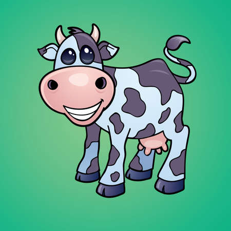Vector drawing of a Happy little dairy cow drawn in a humorous cartoon style.