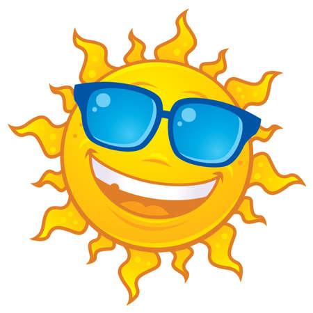 Cartoon Sun Character Wearing Sunglasses Stock Vector - 4977442