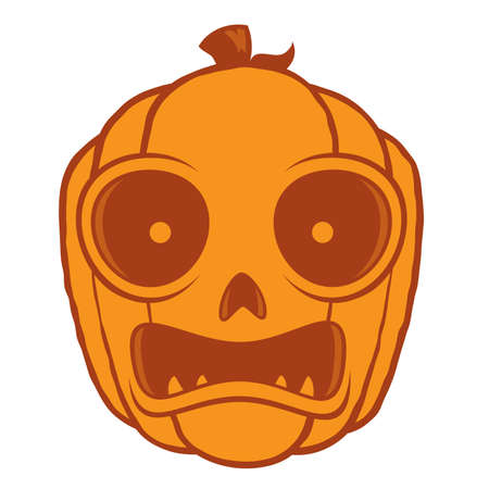 Vector cartoon illustration of a frightened Jack-O-Lantern pumpkin head. Great for Halloween decorations or designs. Çizim