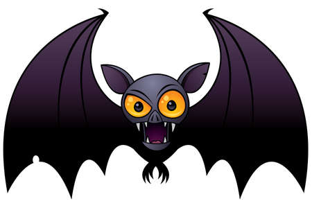 Vector cartoon illustration of a Halloween Vampire Bat with big orange eyes. Иллюстрация