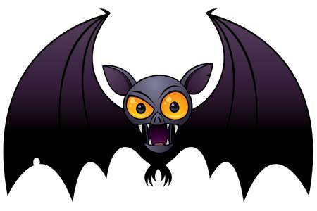 Vector cartoon illustration of a Halloween Vampire Bat with big orange eyes. Illustration