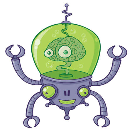 Vector cartoon illustration of a robot with a large brain with eyes in green liquid. BrainBot has four long arms with claws.