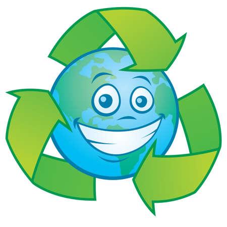 재활용 기호로 둘러싸인 지구 문자의 벡터 만화 일러스트 레이 션. 녹색 디자인에 대 한 위대한 마스코트입니다.
