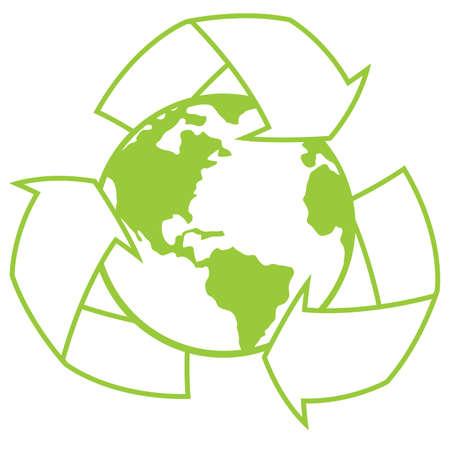 행성 지구에 재활용 기호 둘러싸인 벡터 일러스트 레이 션. 녹색 디자인을위한 좋은 아이콘.