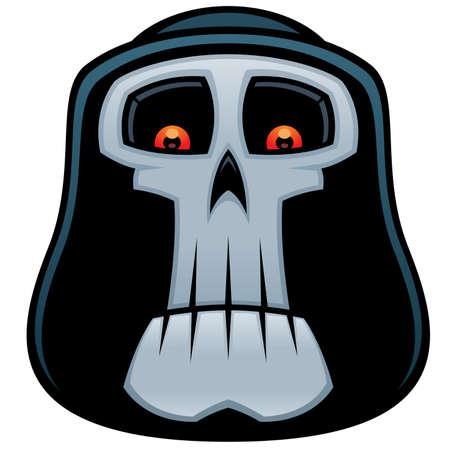 Vector cartoon illustratie van de Grim Reaper. Angel doods schedel met rode ogen en kap.
