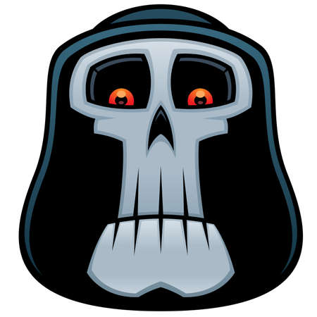 Vector cartoon illustration of the Grim Reaper. Angel of Death skull with red eyes and hood.