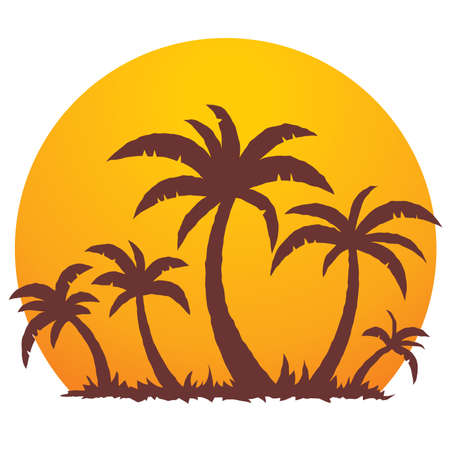 Vector illustration of a tropical sunset and palm trees on a small vacation island paradise. Ilustração