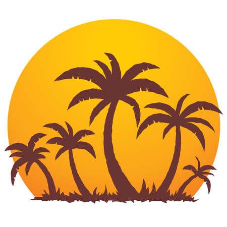 palmeras: Vector ilustraci�n de una puesta de sol tropicales y palmeras en un peque�o para�so de vacaciones en la isla. Vectores