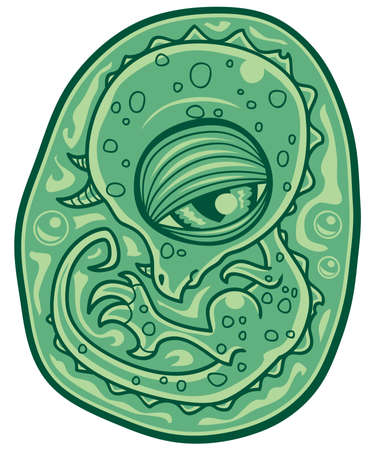 Cartoon illustration of a dinosaur embryo in an egg.