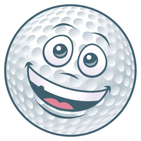 Vector illustration of a cartoon golf ball character.