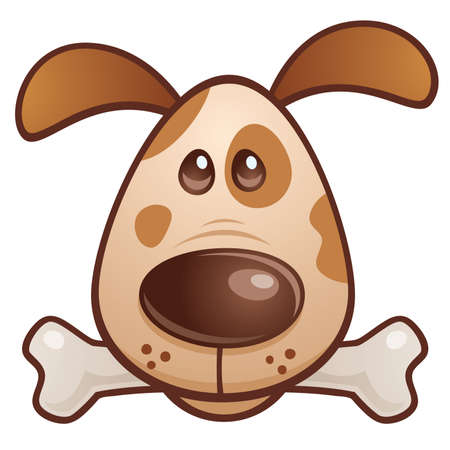 Vector cartoon illustration of a cute puppy dog with a bone in his mouth. Иллюстрация