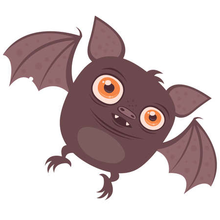 chubby cartoon: Vector cartoon illustration of a cute chubby Vampire Bat with big orange eyes. Great for Halloween!