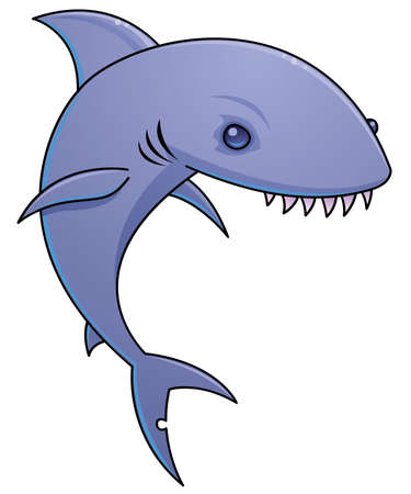 Vector cartoon illustration of a shark with sharp teeth. Illustration