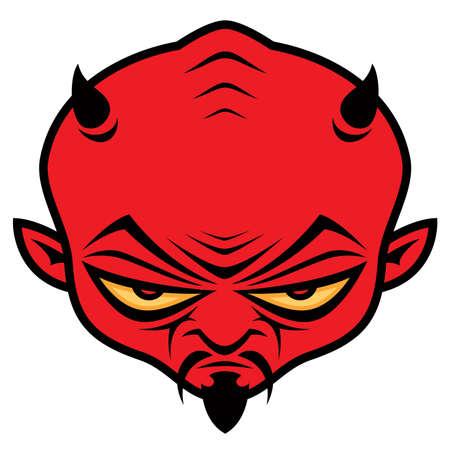 角、口ひげ、あごひげの平均悪魔の文字の漫画イラスト。