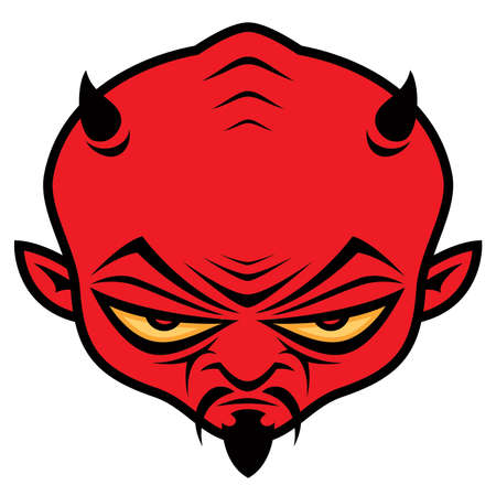 Cartoon illustration of a mean devil character with horns, mustache and goatee.