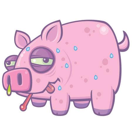 cerdo caricatura: Vector ilustración de dibujos animados de un cerdo sudoroso, enfermos con la gripe porcina.