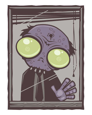 rot: Office Zombie Cartoon. Sad little office zombie with big green eyes staring out of his window with his hand pressed against the glass. Illustration