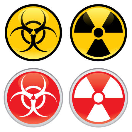 Shiny biohazard and radioactive warning signs and symbols.