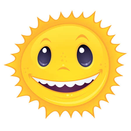 cartoon drawing of a happy, smiling sun. Great for spring and summer designs. Vector