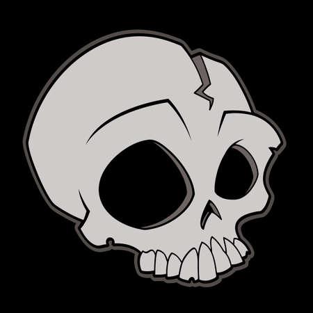 Cartoon vector illustratie van een schedel.